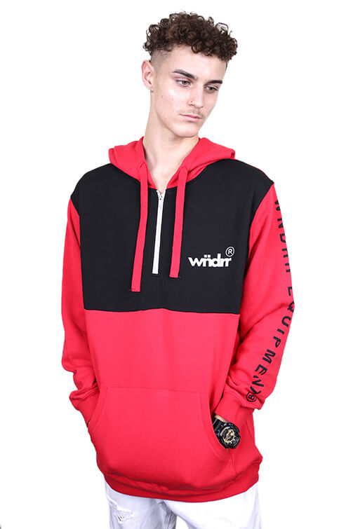 WNDRR Acclaimed Hood Sweat Red/Black Front