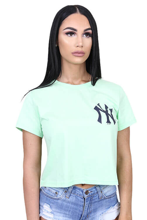 Majestic Womens NY Emily Cropped Tee Mint Front