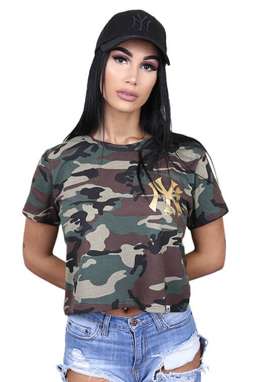 Majestic Womens NY Emily Foil Cropped Tee Camo Front