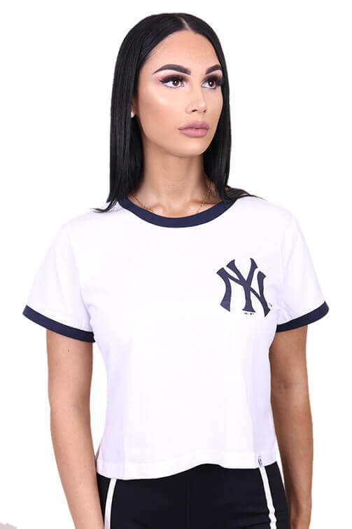 Majestic Womens NY Ringer Cropped Tee White Front