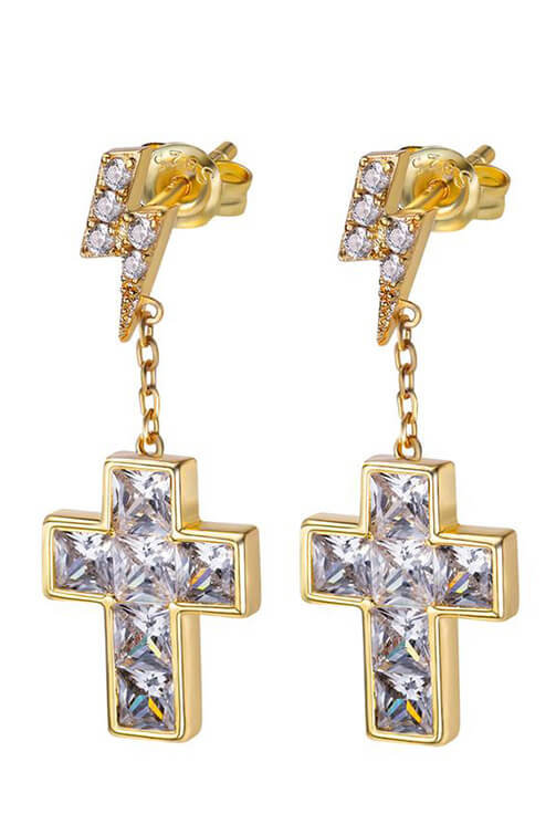 Staple Cross Earrings with Lightning Stud in 925 Sterling Silver Front