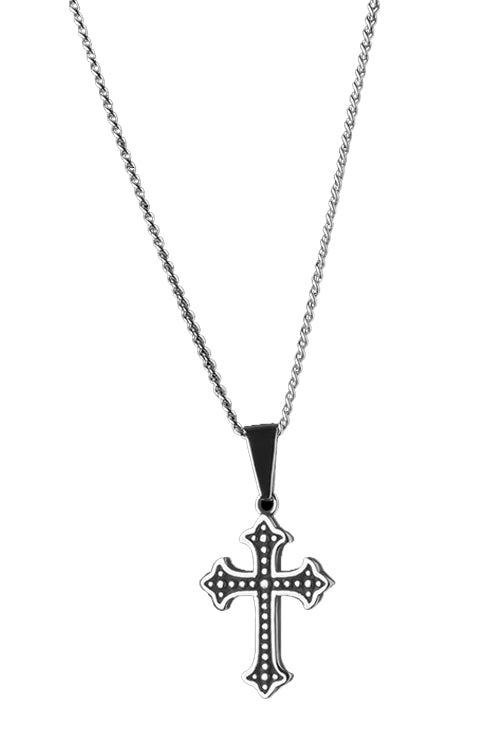 Statement Collective French Cross Pendant Necklace with Curb Chain Front