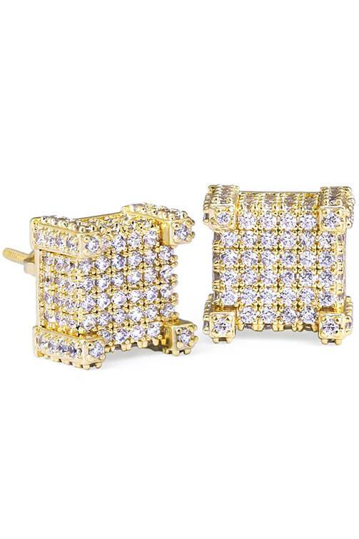Staple Micro Pave Gold 3D CZ Earrings Front