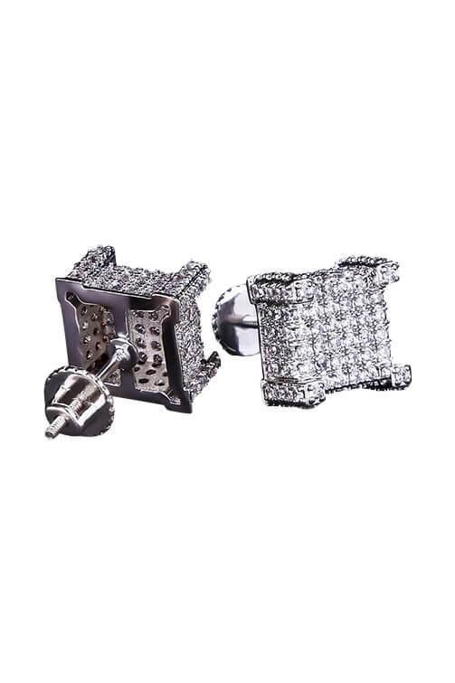 Staple Micro Pave White Gold 3D CZ Earrings Detail