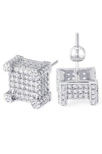 Staple Micro Pave White Gold 3D CZ Earrings Front