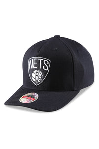 M&N Nets Team Colour Logo Pinch Panel Black Snapback Angle