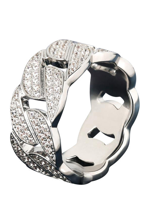 Staple White Gold Cuban Ring Size 10