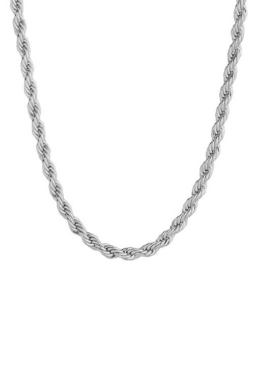Staple 3mm White Gold Stainless Steel Rope Chain