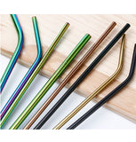 Stainless-Steel Metal Reusable Drinking Straws Assorted Set of 4 with Cleaning Brush