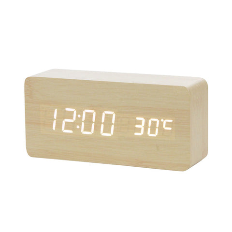 Voice Control LED Wooden Alarm Clock Digital Wood USB/AAA Powered
