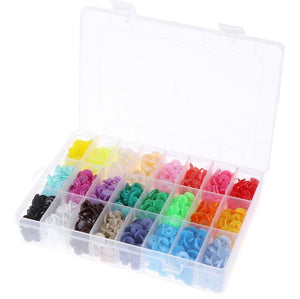 360pcs Box 24 Colors T5 Plastic Press Stud Buttons Fastener Diy Baby Clothing - virtualdronestore.com