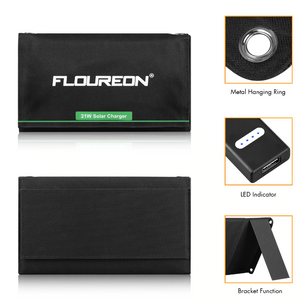 FLOUREON Solar Charger 5V 21W Solar Panel with LED Indicator Dual USB Port Waterproof Foldable for Smartphones Tablets - virtualdronestore.com