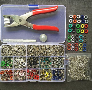 1pc Plier 1set Eyelets Tool 100sets 10 Colors 9.5mm Prong Snap Buttons Fasteners - virtualdronestore.com