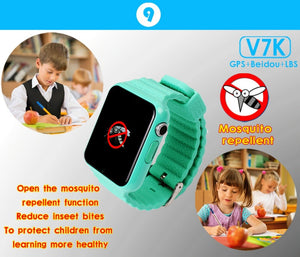 New Fashion V7K GPS Bluetooth Smart Watch for Kids Boy Girl Apple Android Phone Support SIM /TF Dial Call and Push - virtualdronestore.com