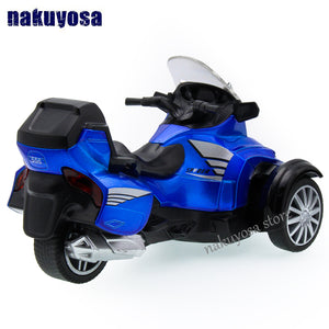 Bombardier inverted tricycle motorcycle model 1:16 alloy toy car acousto-optic pull back kid toy - virtualdronestore.com