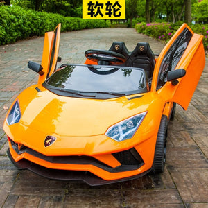 Children's electric car four wheeled double car with remote control baby car 1-3 toys 4-5 years old can seat two people. - virtualdronestore.com