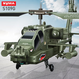 SYMA S109G Remote Control Dron copteApache Simulation Military RC Helicopter Combat Aircraft With Night Light Kid Toy Gift Funny - virtualdronestore.com
