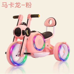 Kids Ride On Cars Electric  Motor Car for Children Three-Wheel Toy Car Early Education Music+Flash Wheel Light 1-6 Years Old - virtualdronestore.com