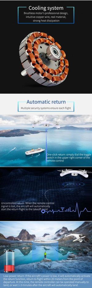 Professional Racing WIFI FPV RC Quadcopter GPS Drone 15Mins 720P 1080P Auto Follow Me Brushless Remote Control RC Helicopter - virtualdronestore.com