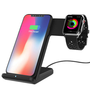wireless charger For iPhone Xs Max Xiaomi Samsung 2 in 1 Fast Wireless Charger Charging Stand Dock For Apple Watch iWatch - virtualdronestore.com