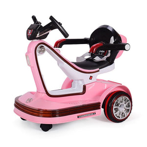 Music LED Children Electric Vehicles Remote Control Scooter Bumper Car Rotating Baby Electric Drift Car for Kids Ride on Toys - virtualdronestore.com