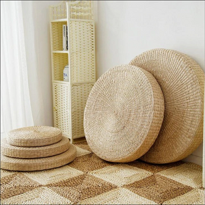 Height 30cm Diameter 70cm Natural Straw Round Pouf Tatami Cushion Floor Cushions Meditation Yoga Round Mat Zafu Chair Cushion - virtualdronestore.com