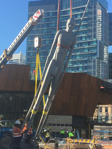 Wiren being raised into position at Yagan Square