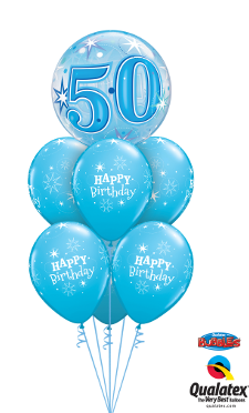 50th Birthday Blue Sparkle Bubble Luxury