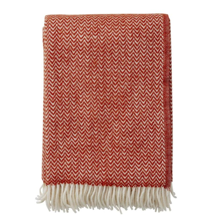 Klippan Wool Throw, Chevron Ruby Red
