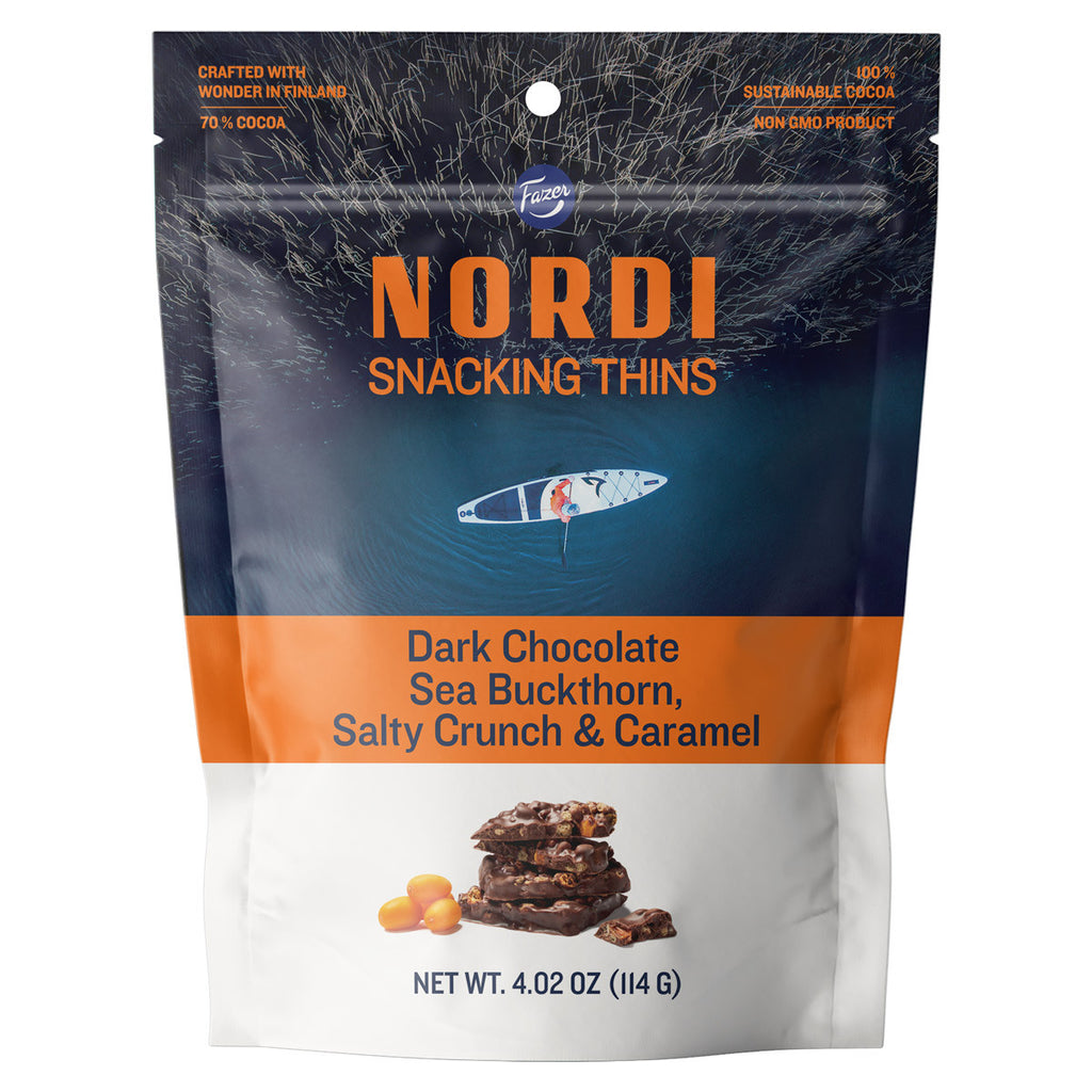 Fazer Nordi Sea Buckthorn, Salty Crunch & Caramel Dark Chocolate Snacking Thins Bag