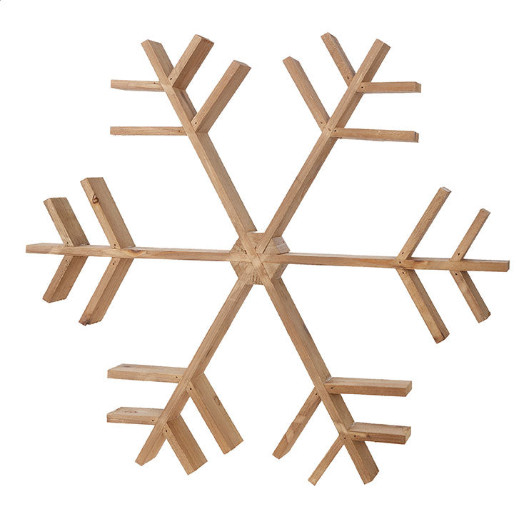 FIR WOOD SNOWFLAKE ORNAMENT, 20.25""