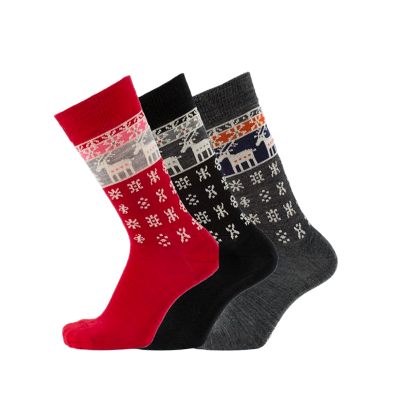 Bengt & Lotta Merino Wool Socks, Reindeer Dark Grey