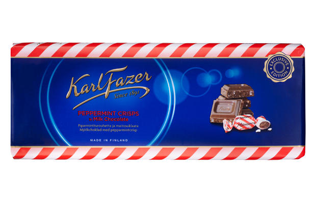 Karl Fazer Peppermint Crisps in Milk Chocolate Bar