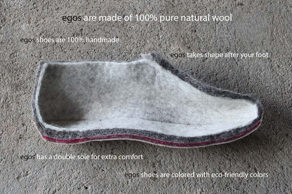 egos Copenhagen Slipper, Natural Grey