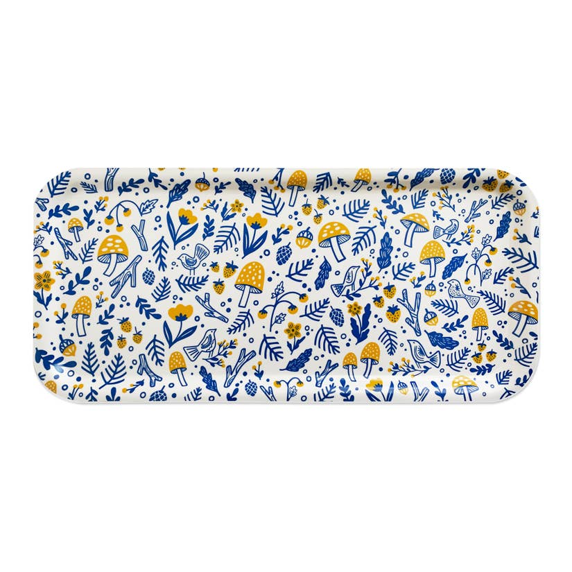 Folk Forest Swedish Cake Tray, Yellow/Blue
