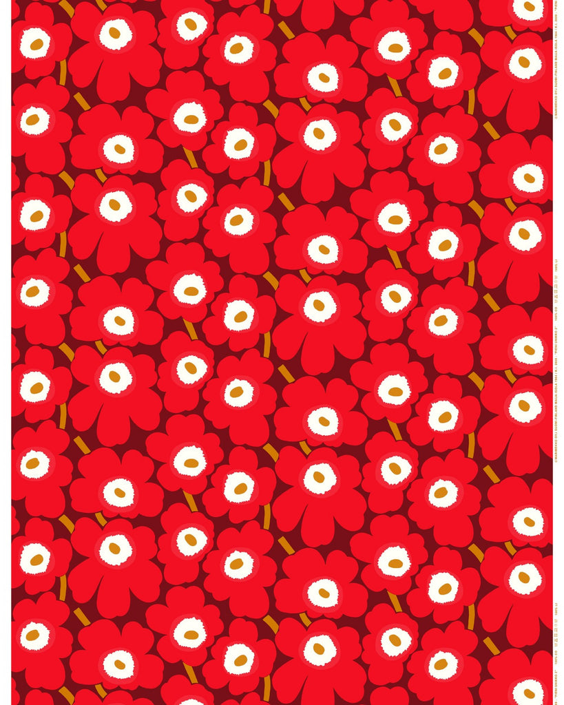 Marimekko Pieni Unikko 100% Cotton Fabric, Dark Red/Red/Brown