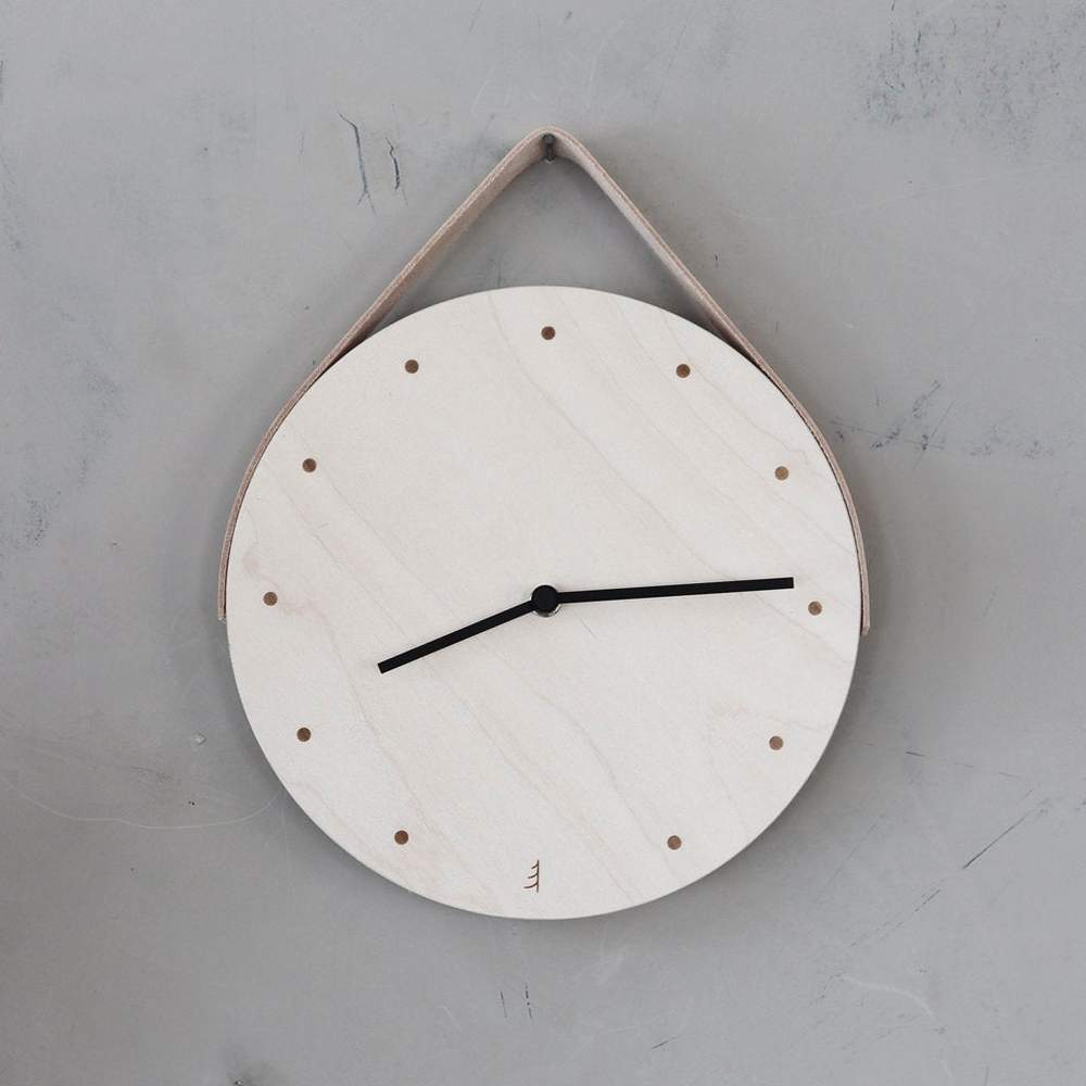 Papurino Wooden Clock with Leather Strap