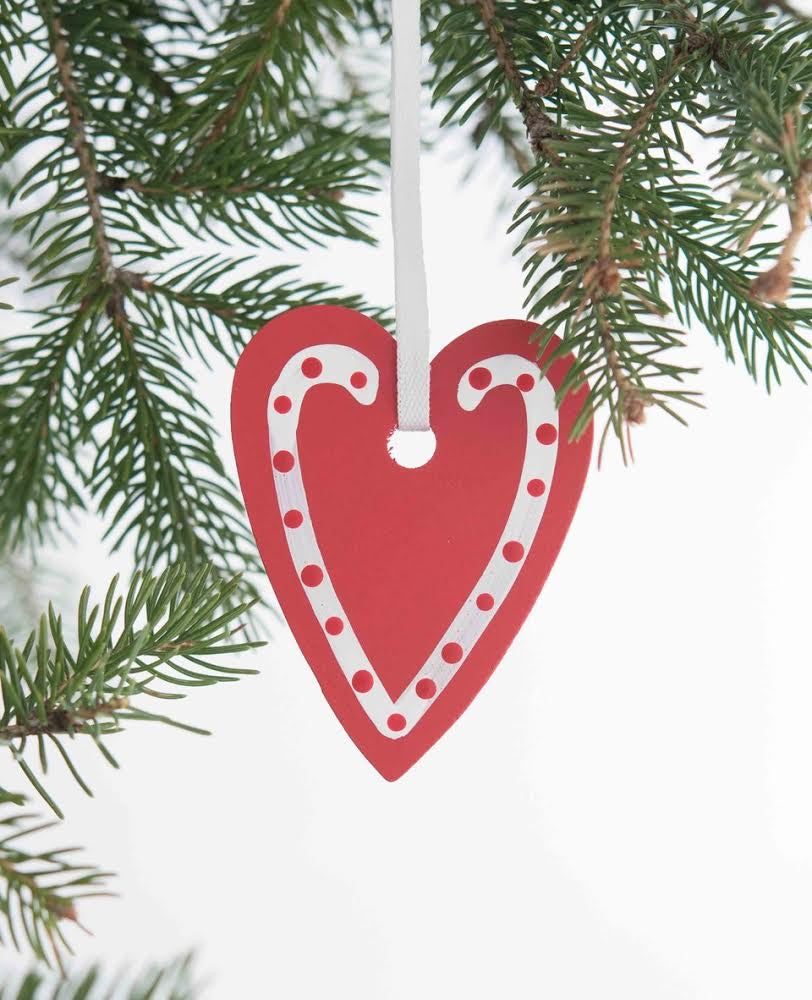 Polkadot Heart Ornament, Red