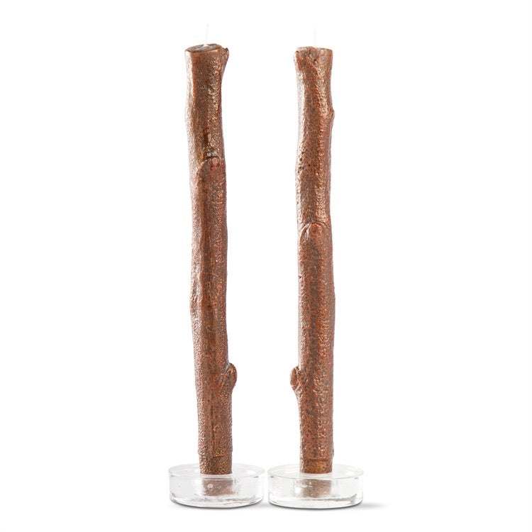 Gilded Tree Bark Taper Candles