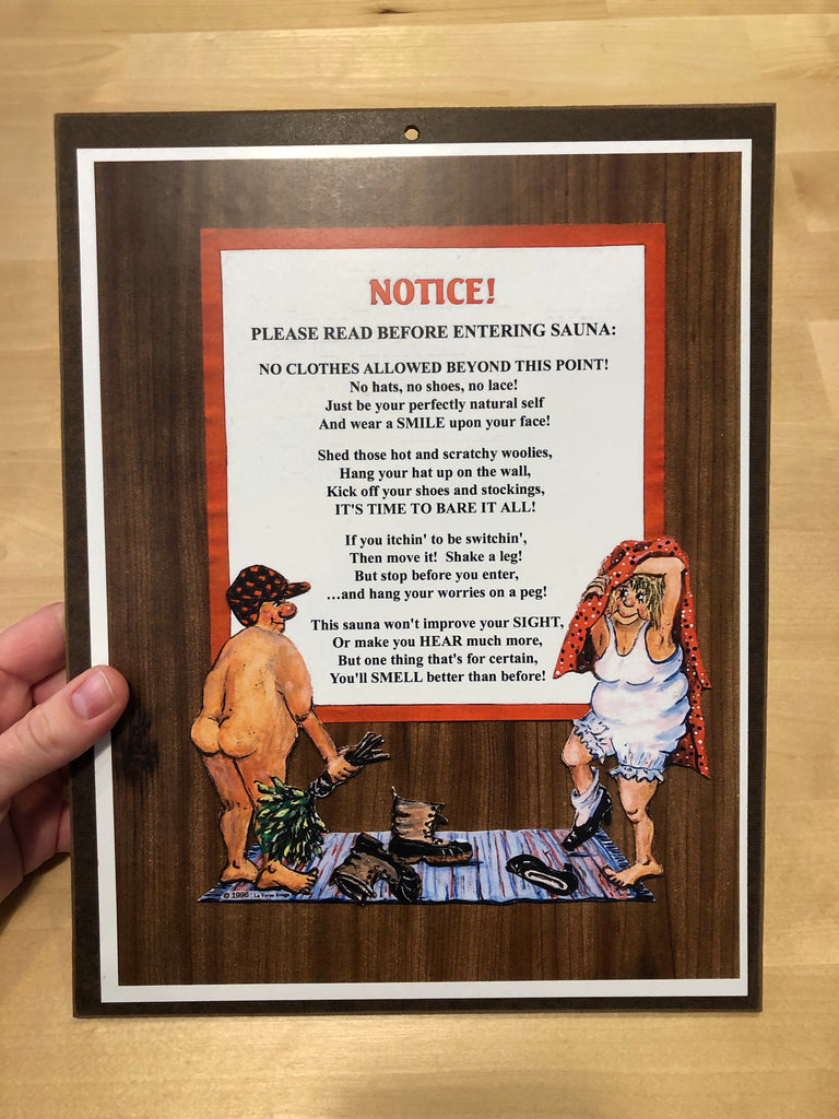 Sauna Notice Sign
