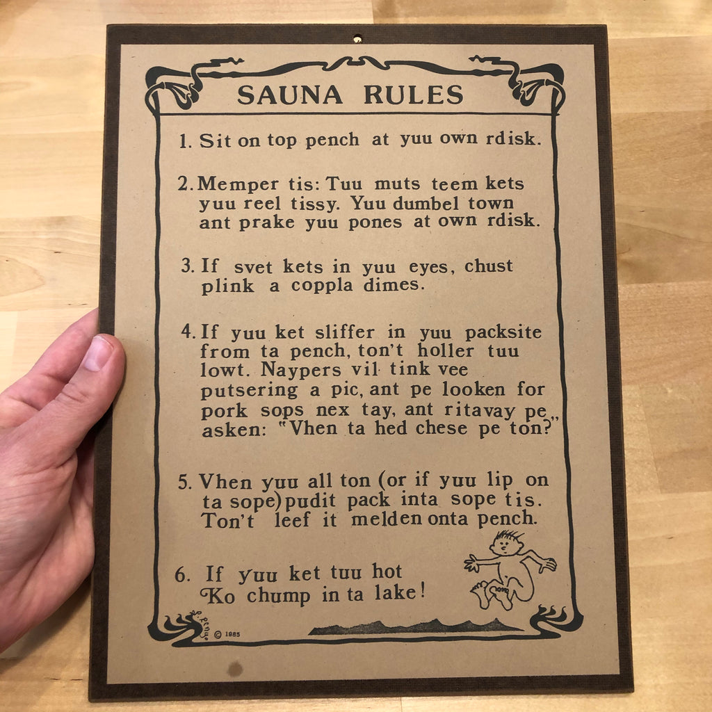 Sauna Rules Sign