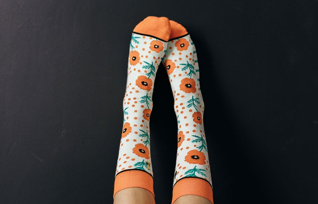 Woven Pear Poppy & Dot Socks