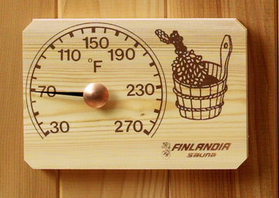 Pine Sauna Thermometer with Bucket & Birch