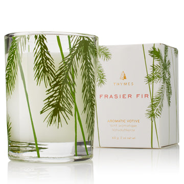 Frasier Fir Votive Candle, Pine Needle Design