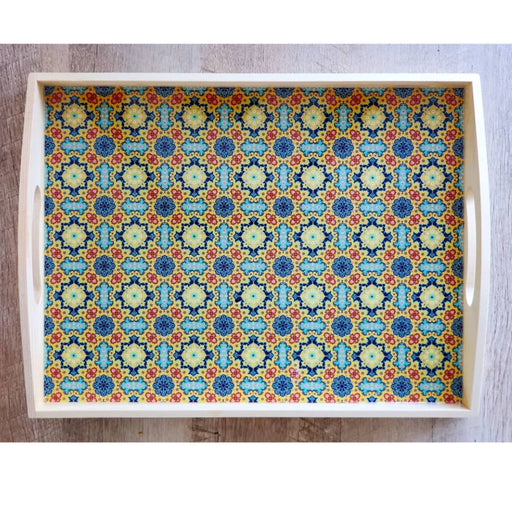 Yellow/teal wooden tray