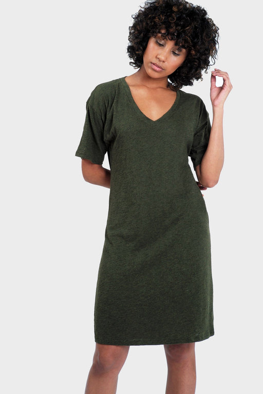 Organic Cotton and Bamboo T-Shirt Dress in Heather Forest
