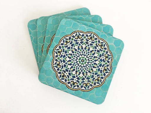 Turquoise Tile Wooden Coaster (set of 4)