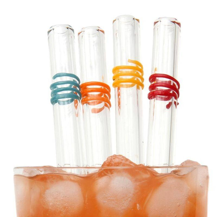 Fiesta Swirl Reusable Glass Straws