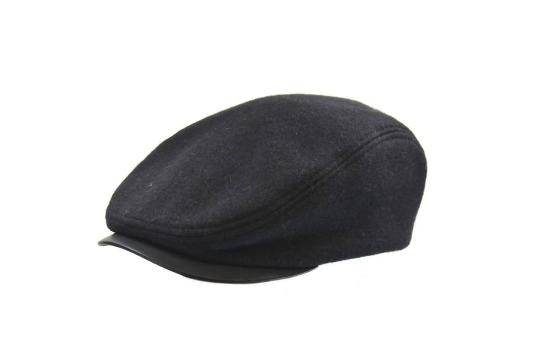 MELTON IVY CAP WITH LEATHER VISOR