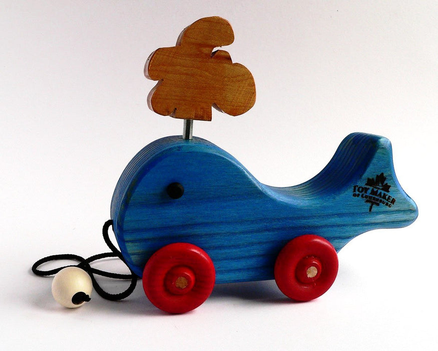 Wooden Whale with Spout Pull Toy